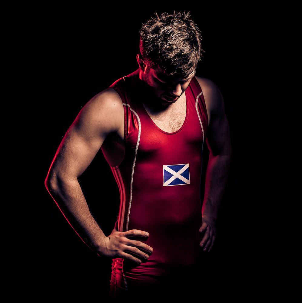 Kieran in his Scottish Wrestling Uniform